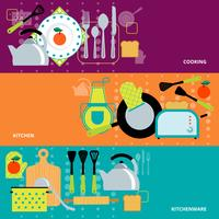 Concept de cuisine 3 bannières définies