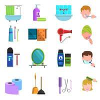 Ensemble d'icônes plat produits de soins personnels