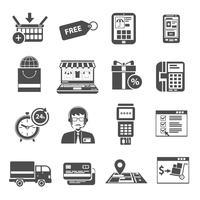 ensemble d'icônes en ligne noir vecteur
