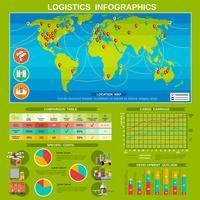 Nouvelle affiche de mise en page d'infographie logistique vecteur