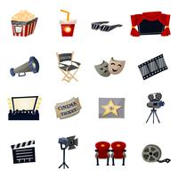Icônes de cinéma plat