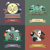 Bannière de composition sport 4 icônes plat