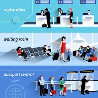 Personnes dans des bannières d'aéroport