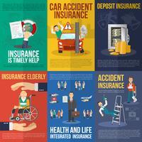Ensemble d'affiches d'assurance vecteur