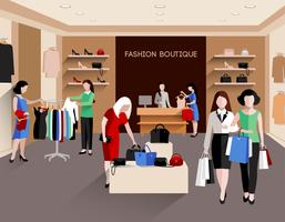 Illustration de boutique de mode vecteur