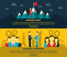 Ensemble de bannières de leadership et d'affaires vecteur