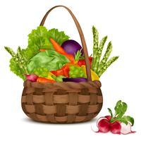 Légumes dans le panier vecteur