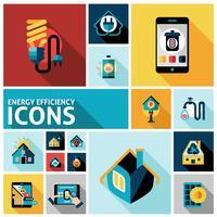 Efficacité énergétique Icons Set vecteur