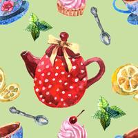 Modèle sans couture de thé aquarelle