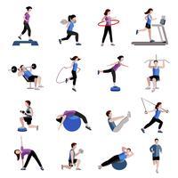 Ensemble d'icônes plat fitness hommes femmes vecteur