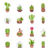 jeu d'icônes de cactus vecteur