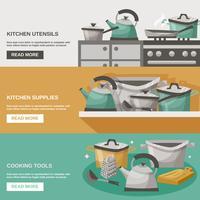 Ensemble de bannières outils de cuisine vecteur