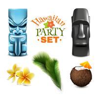 Collection d'éléments de fête hawaïenne