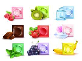 Ensemble de préservatifs parfumés réalistes