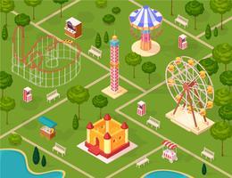 Modèle sans couture isométrique du parc d'attractions vecteur