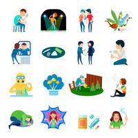 Collection d'icônes d'abus de drogue vecteur