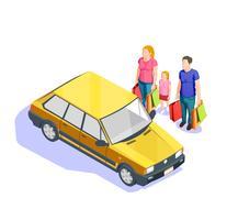 Gens, shopping, isométrique, illustration