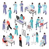 Ensemble isométrique d'hôpital médecin infirmière vecteur