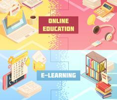 Bannières isométriques horizontales pour l'éducation en ligne