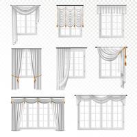 Ensemble de fenêtres rideau réaliste vecteur