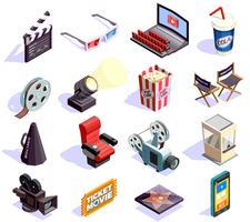 Cinéma Isométrique Icons Set vecteur