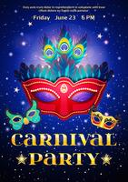 Affiche de fête de carnaval avec date d'événement vecteur
