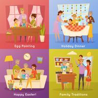 Famille Pâques Concept 4 icônes plates