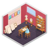 composition de la salle de l'école d'art vecteur