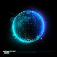 Affiche fond géométrique sphère rougeoyante