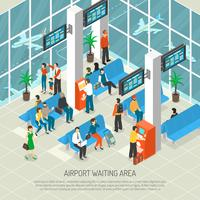 Illustration isométrique de la zone d'attente de l'aéroport