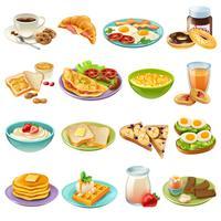Petit déjeuner brunch menu nourriture icônes set vecteur