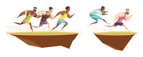 Les coureurs sautent une composition de fossé