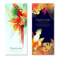 Bannières verticales de perroquets tropicaux vecteur