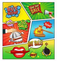 page de bande dessinée de ventes chaudes vecteur