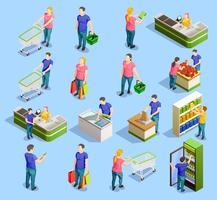 Collection d'éléments isométriques de supermarché