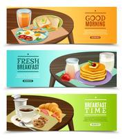 Jeu de bannières horizontales petit déjeuner vecteur