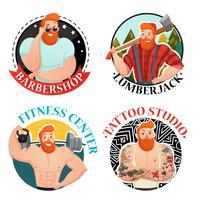 Quatre étiquettes avec des icônes d'hommes brutaux vecteur