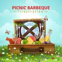 Illustration de pique-nique au barbecue vecteur