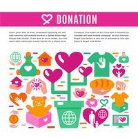 Page d'information sur les dons de charité vecteur