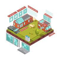 Concept isométrique de maison mobile
