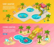 Isometric Aqua Park Banner Set vecteur