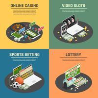 Casino en ligne 4 icônes isométriques vecteur