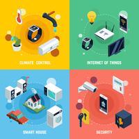 jeu d'icônes de concept de maison intelligente vecteur