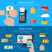 Bannières de paiement sans fil et de magasinage en ligne vecteur