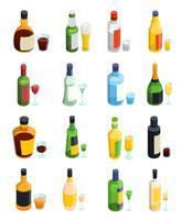 Jeu d'icônes colorées alcool isométrique vecteur