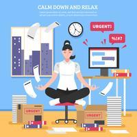 Femme affaires, méditation, plat, illustration