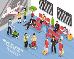 Affiche isométrique de la salle d'embarquement de l'aéroport