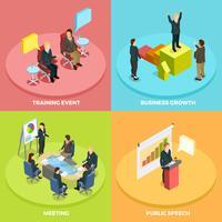Concept isométrique d'apprentissage en entreprise vecteur