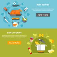 Bannières horizontales plates culinaires vecteur