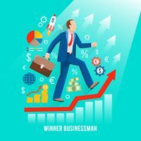 Affiche plate symbolique d'homme d'affaires prospère vecteur